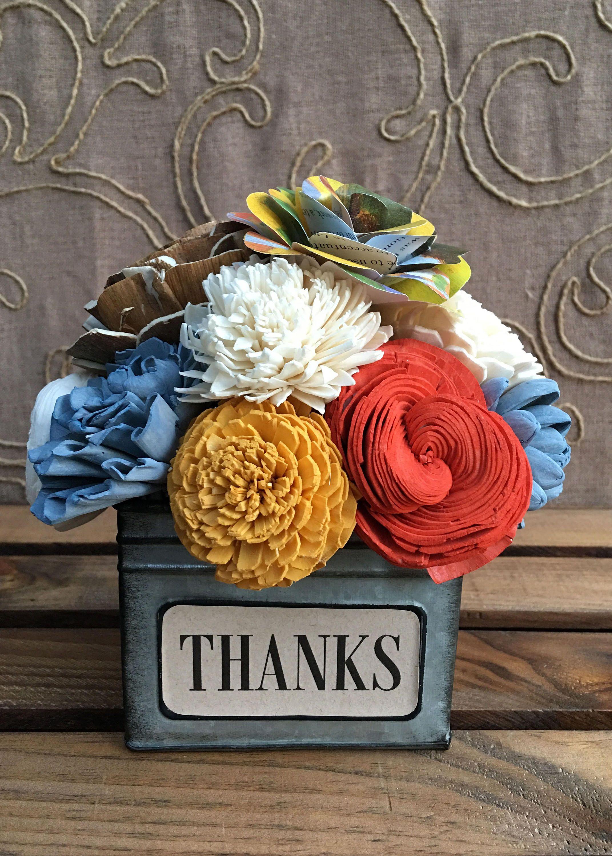 Sola Wood Flower & Paper Flower Arrangement / Slate Blue