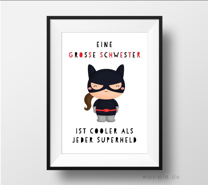 Weihnachtsgeschenke Für Geschwister.Bilder Superheldin Große Schwester Kinderzimmer Bild Ein