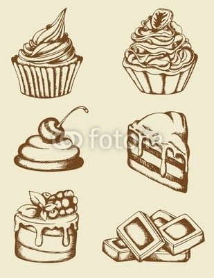 vintage dibujos cakes