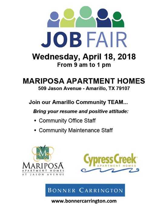 Job Fair Mariposa At Jason Avenue Apartment Homes Is Hosting A