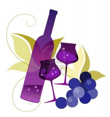 fruity red wine illustration of a bottle wineglassses and grape clip 13120
