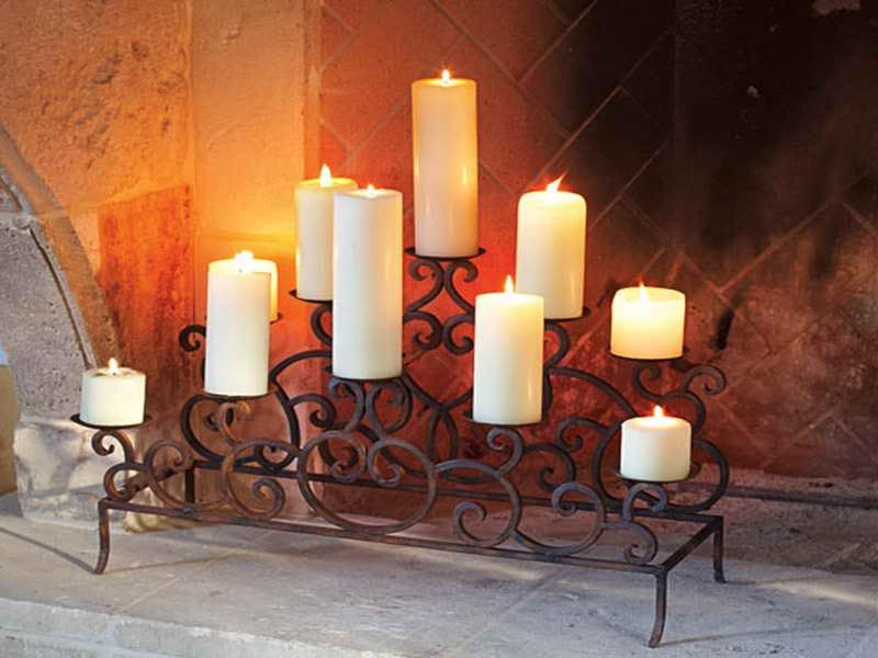 Fireplace candles and Design candle holders