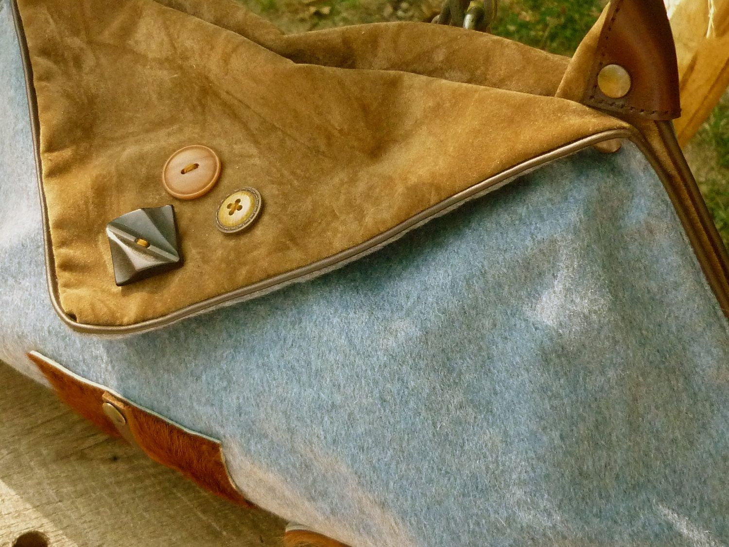 Original Square Bag on Wool Leather and Cowhide by solgabriel