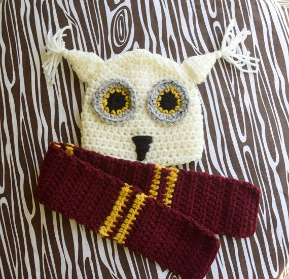 Hedwig Hat and Scarf Harry Potter Hat and by TinakinsCreations ... 5bbb1393345
