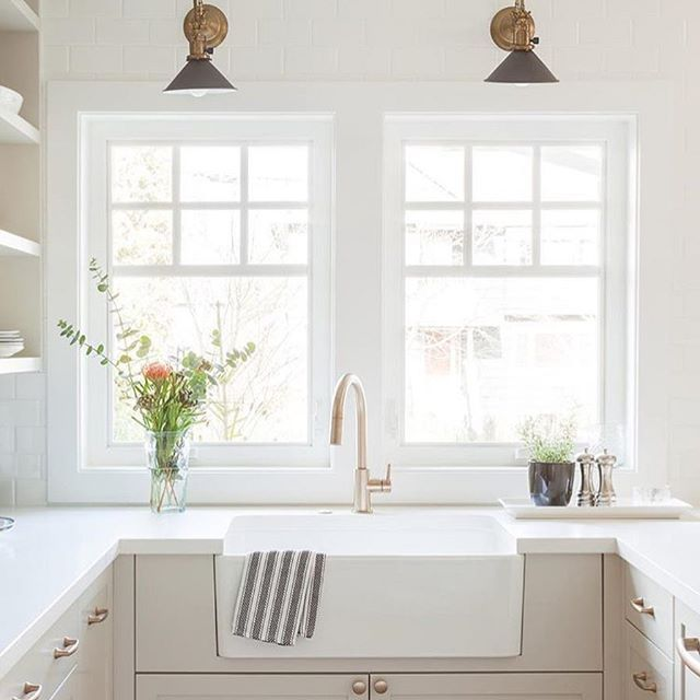 Loving This Soft Color Combo In This Gorgeous Space Designed By Kellydeckdesign Photography Barryc Kitchen Sink Lighting Modern Kitchen Sinks Kitchen Remodel