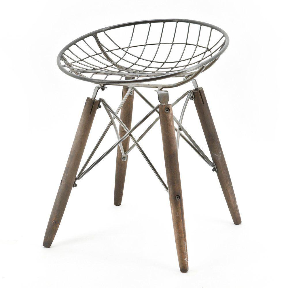 Industrie Design Sitzhocker Hocker Stuhl WIRE Rund Vintage Holz Metall