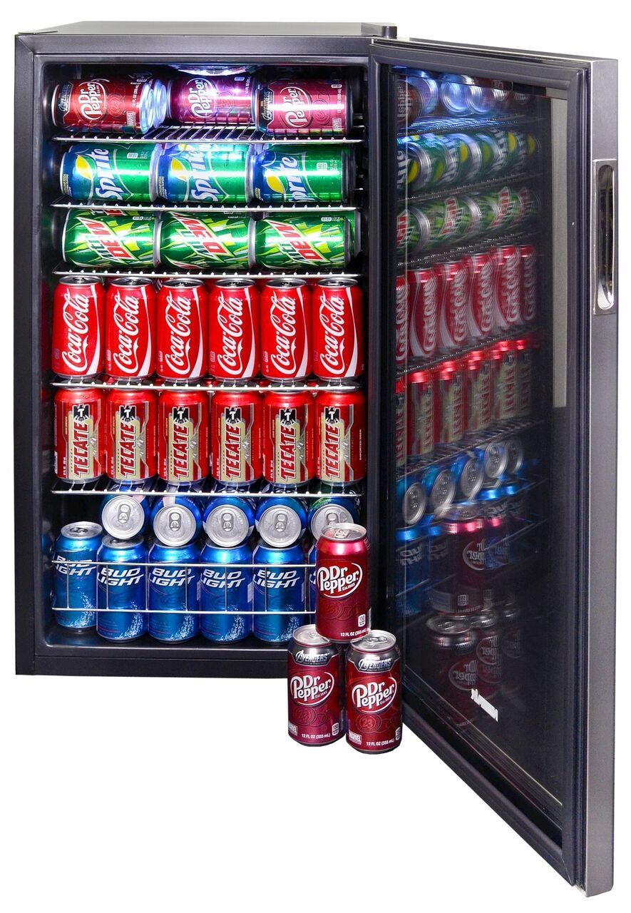 Stainless Steel 126 Can Beverage Cooler In 2020 Beverage Cooler Beverage Center Beverage Fridge