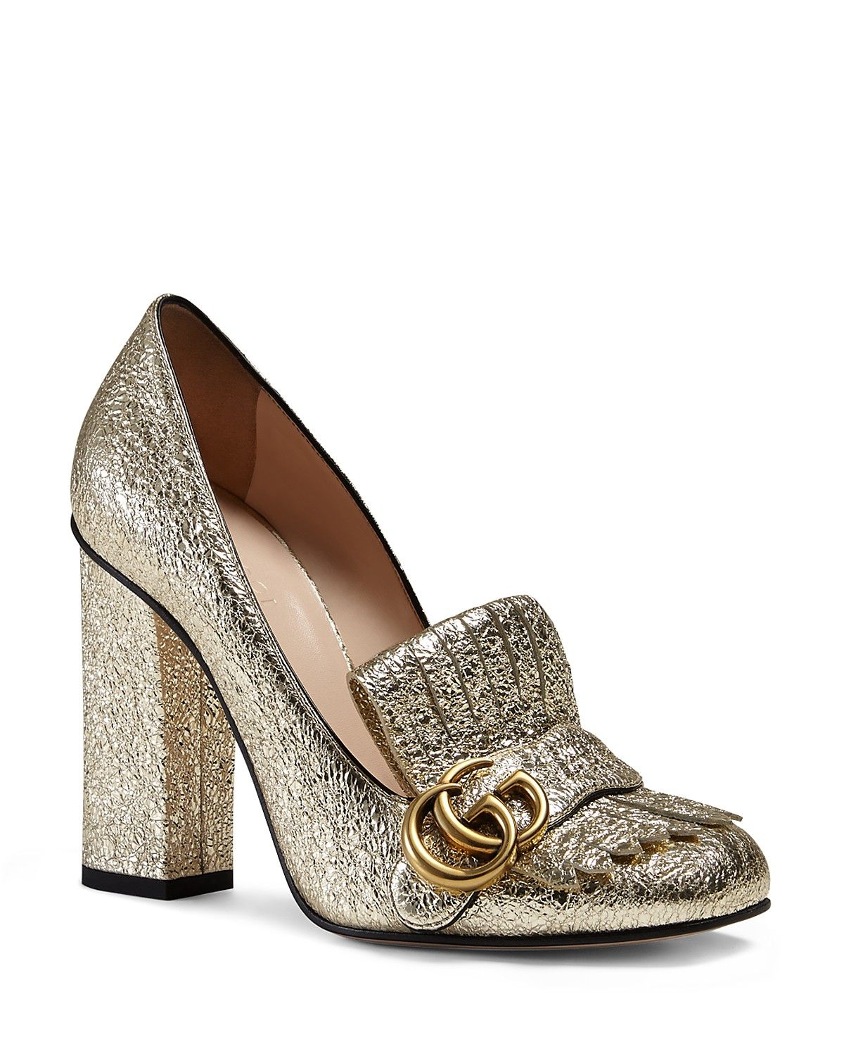bd02da503 Gucci Metallic Marmont Mid Heel Loafers | Leather upper, leather lining,  leather sole | Made in Italy | Metallic leather almond toe pump with fold  over ...