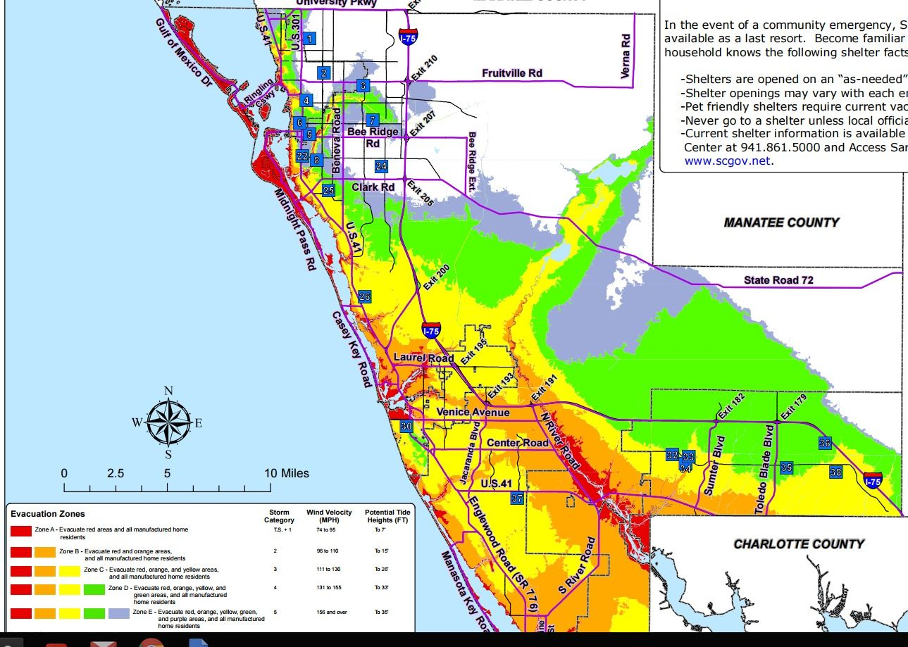 Sarasota Fl Flood Zones Evacuation Zones Http Www