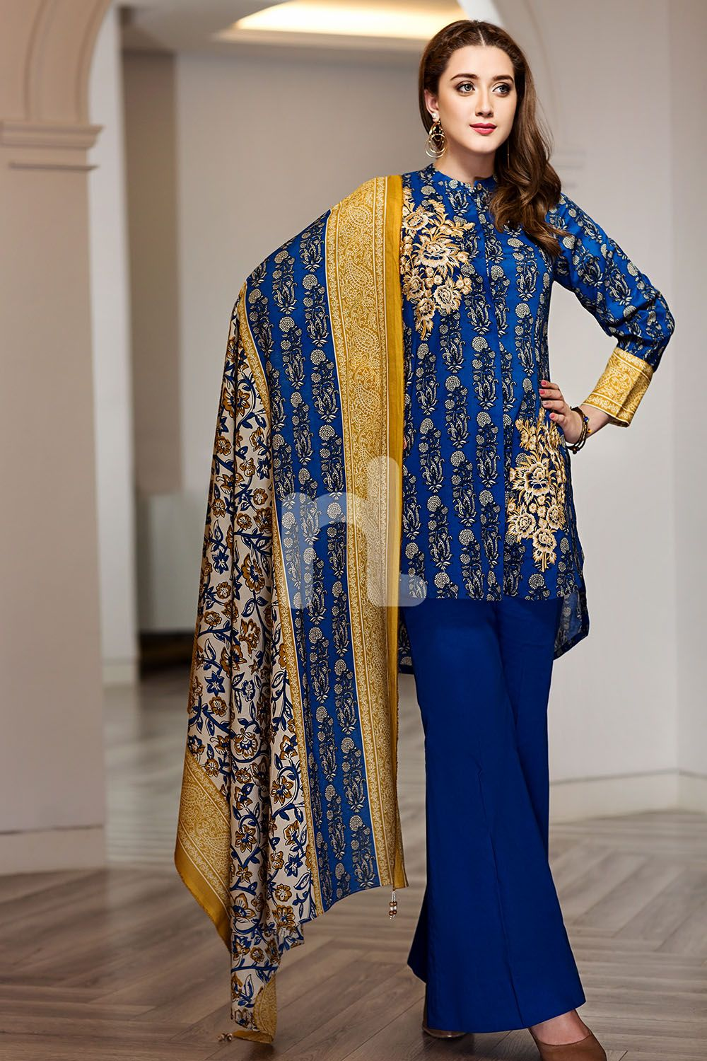 e8bad66242 Graceful Pakistani embroidered Blue 2 piece unstitched pret by Nishat Linen  new collection 2019#springcollection #spring #readytowear #pretwear # unstitched ...