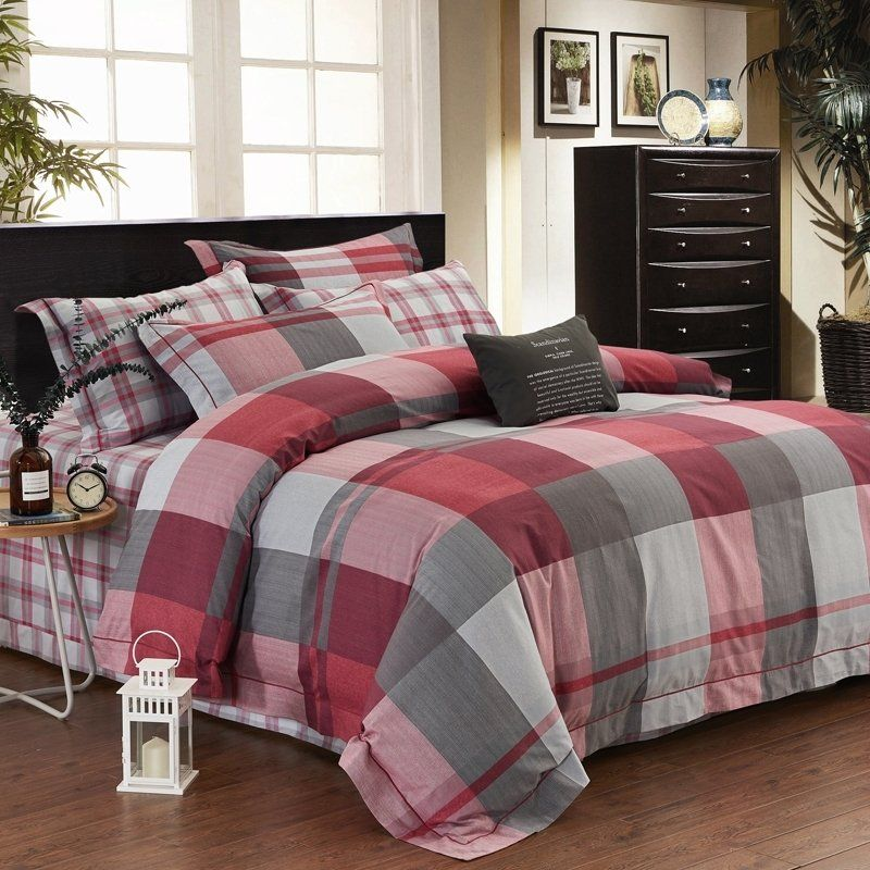 Trendy Burgundy Red Gray And White Gingham Plaid Print Traditional Preppy Style 100 Egyptian Cotton F Burgundy Bedroom Plaid Bedding Sets Bedroom Bedding Sets