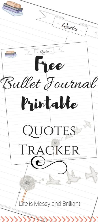 Free Bullet Journal Printable Quotes Tracker Bullet Journal