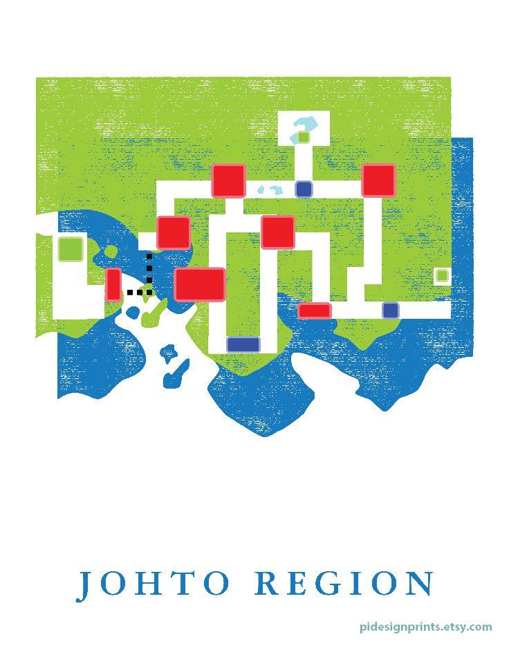 Johto Region World Map Print | Pokemon World Map | Video Game Travel ...