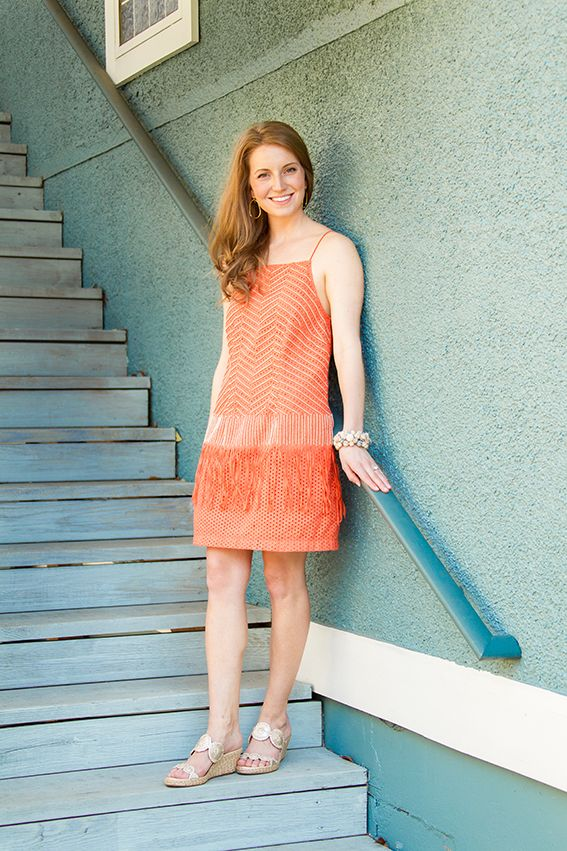 Cute dress and Jack Rogers Shelby wedge in platinum | Cute