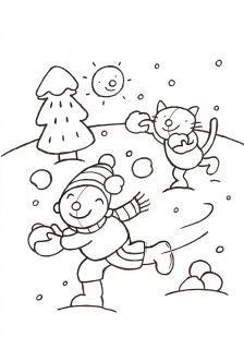 Pompom Winter Kleurplaten Kleurplaten Winter En Sneeuw