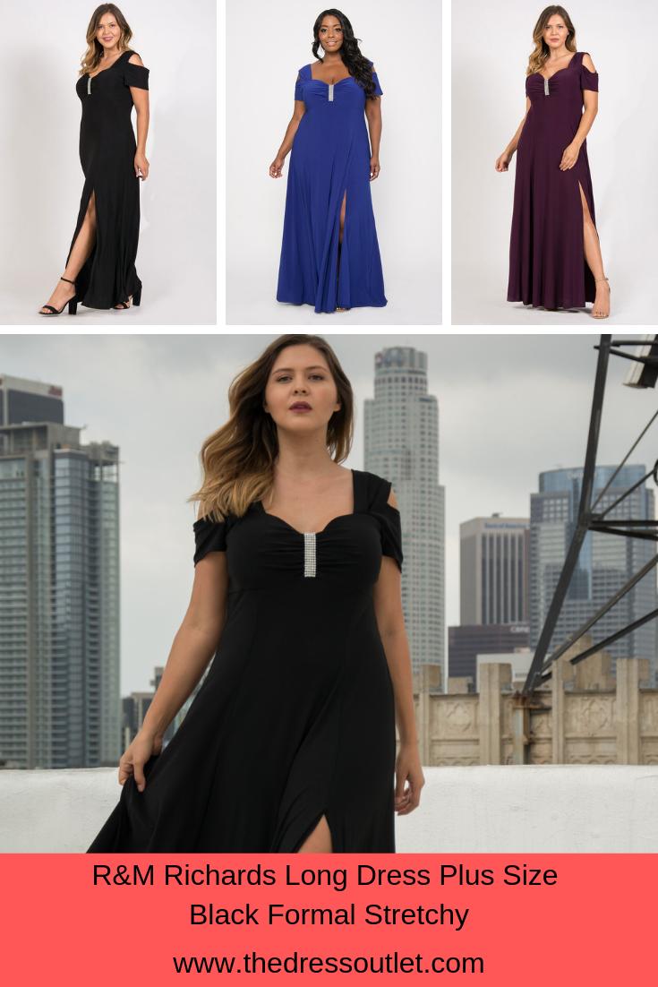 R&M Richards Long Plus Size Formal Stretchy Evening Dress | Plus ...