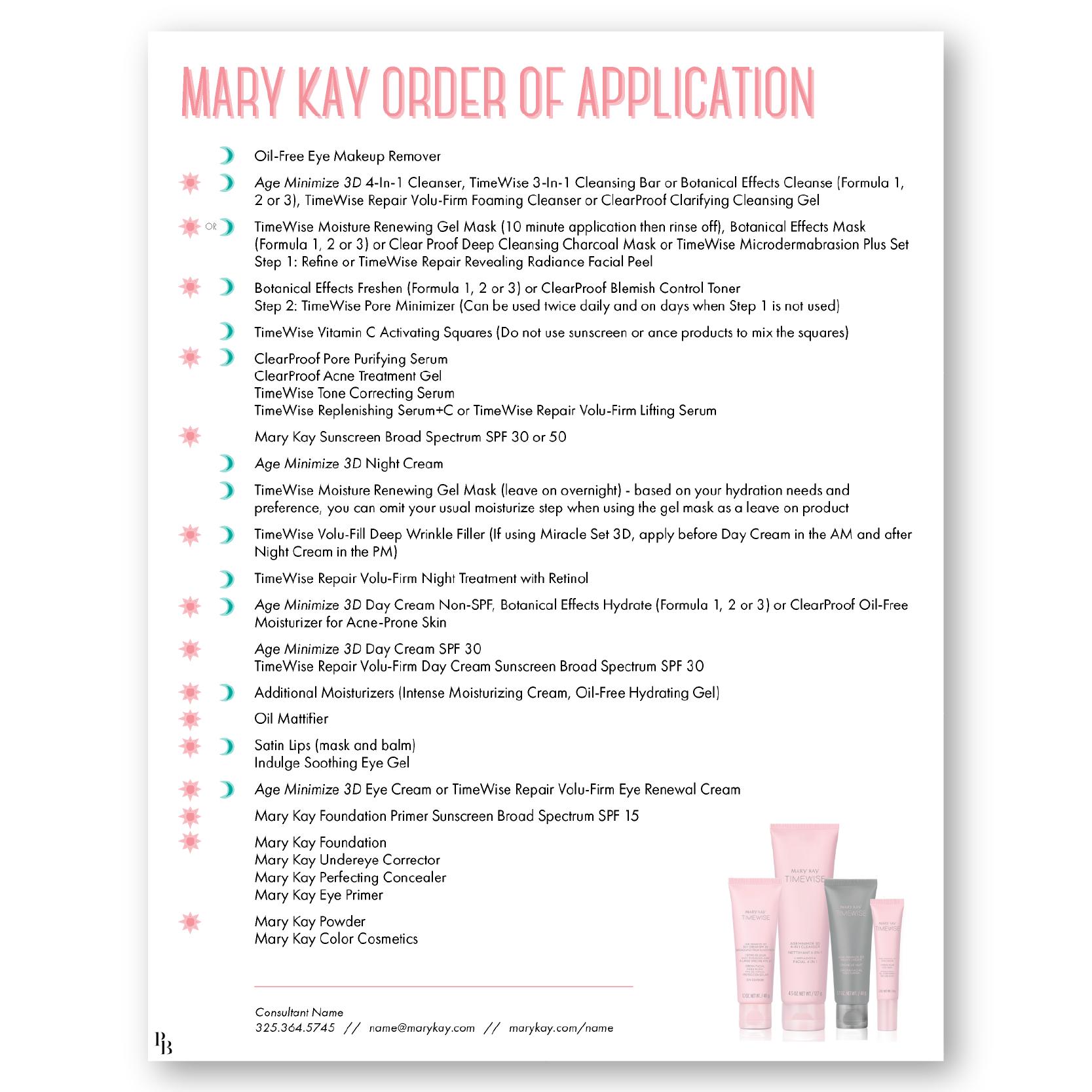 Order of App DI01 Mary kay facial, Mary kay skin care