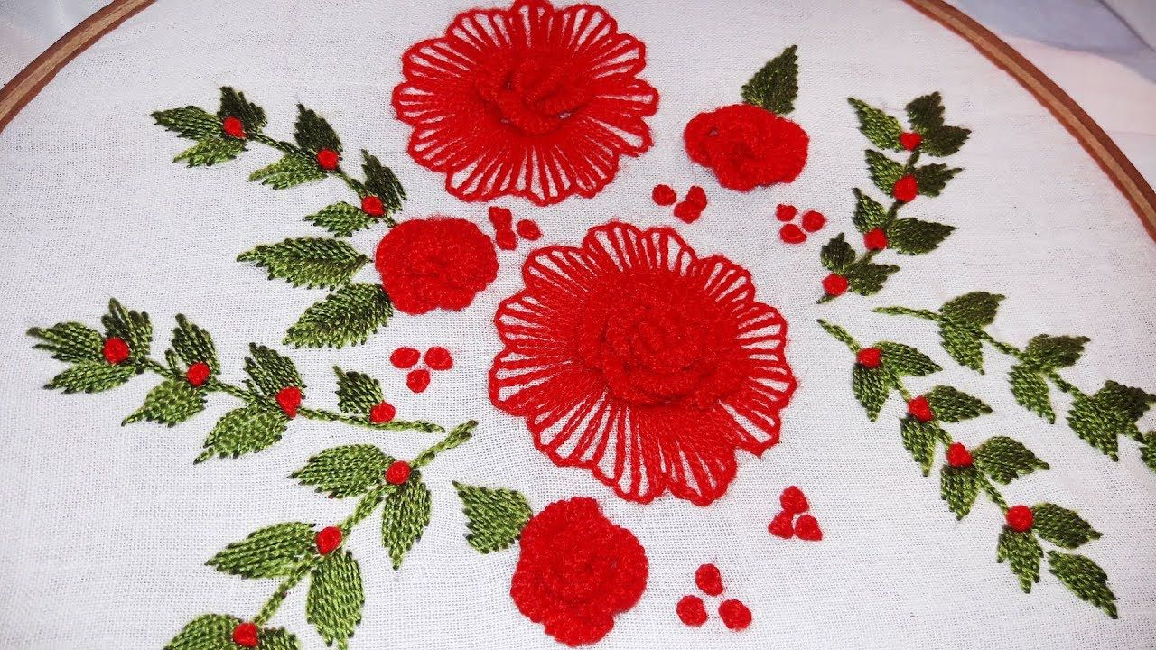 Hand embroidery designs cast on flower design by cherry blossom