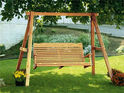 Amish Patio Pine Wood Curve Back Porch Swing - Amish Patio Pine Wood Curve Back Porch Swing Lakes, Outdoor