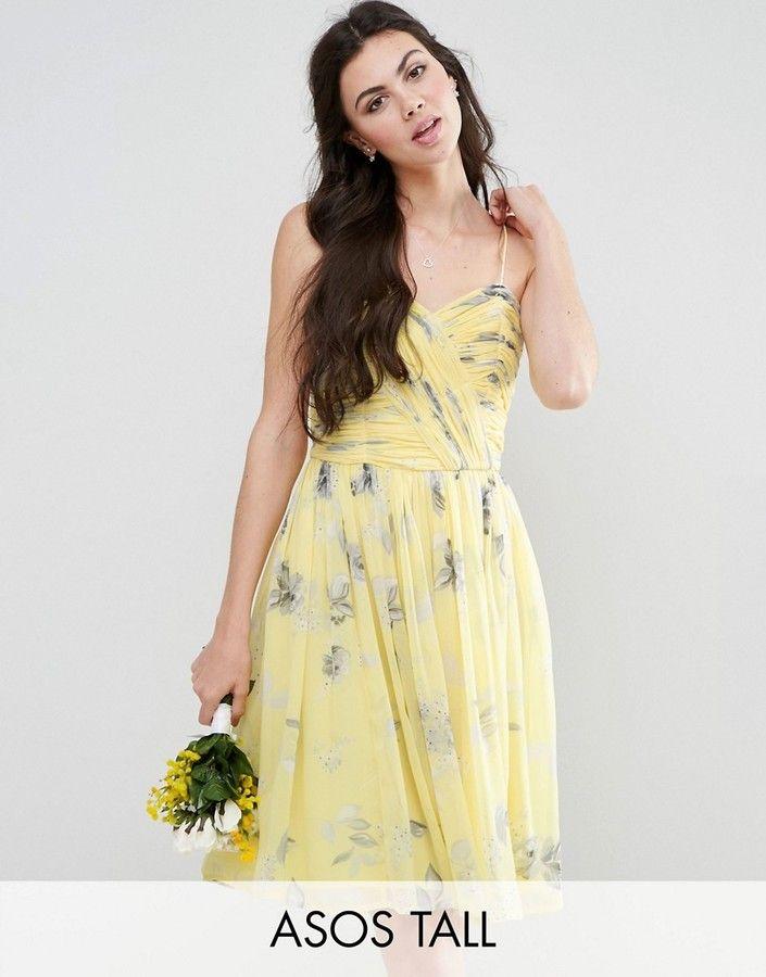 09ffb5cfa97 ASOS Tall ASOS TALL WEDDING Rouched Midi Dress in Sunshine Floral Print