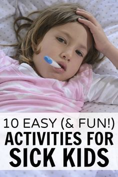 With cold and flu season just around the corner, this list of 10 easy (and fun!) activities for sick kids is a MUST HAVE for moms and dads everywhere!