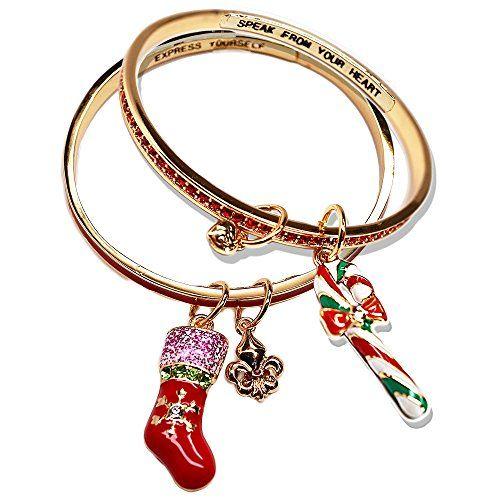 Ritzy Couture Candy Cane and Christmas Stocking Bangle Bracelet Set (Goldtone) Ritzy Couture by Esme Hecht http://www.amazon.com/dp/B01A9PX39K/ref=cm_sw_r_pi_dp_.4JXwb1ZKZMVJ