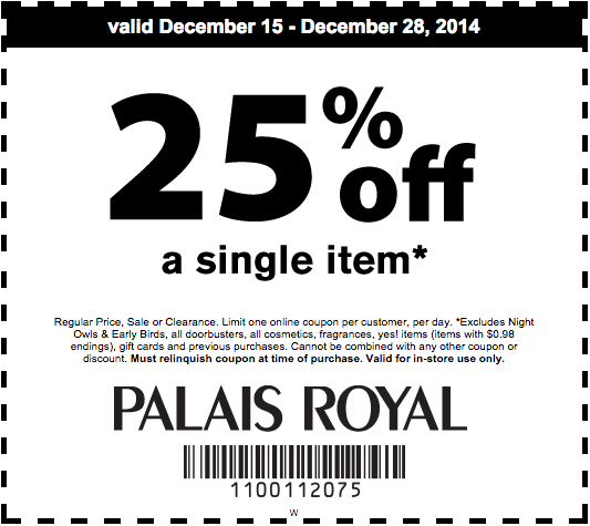 photograph relating to Palais Royal Printable Coupons referred to as Palais Royal Printable Coupon: Get hold of 25% off 1 products. Discount codes