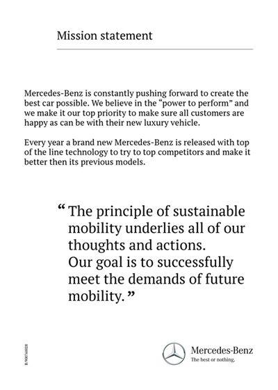 Mercedes Benz   Mission Statement