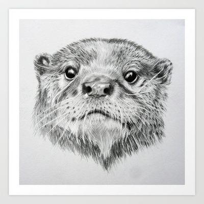 Mrs Otter Art Print by Sam J Thompson - $17.68 | Otter | Pinterest ...