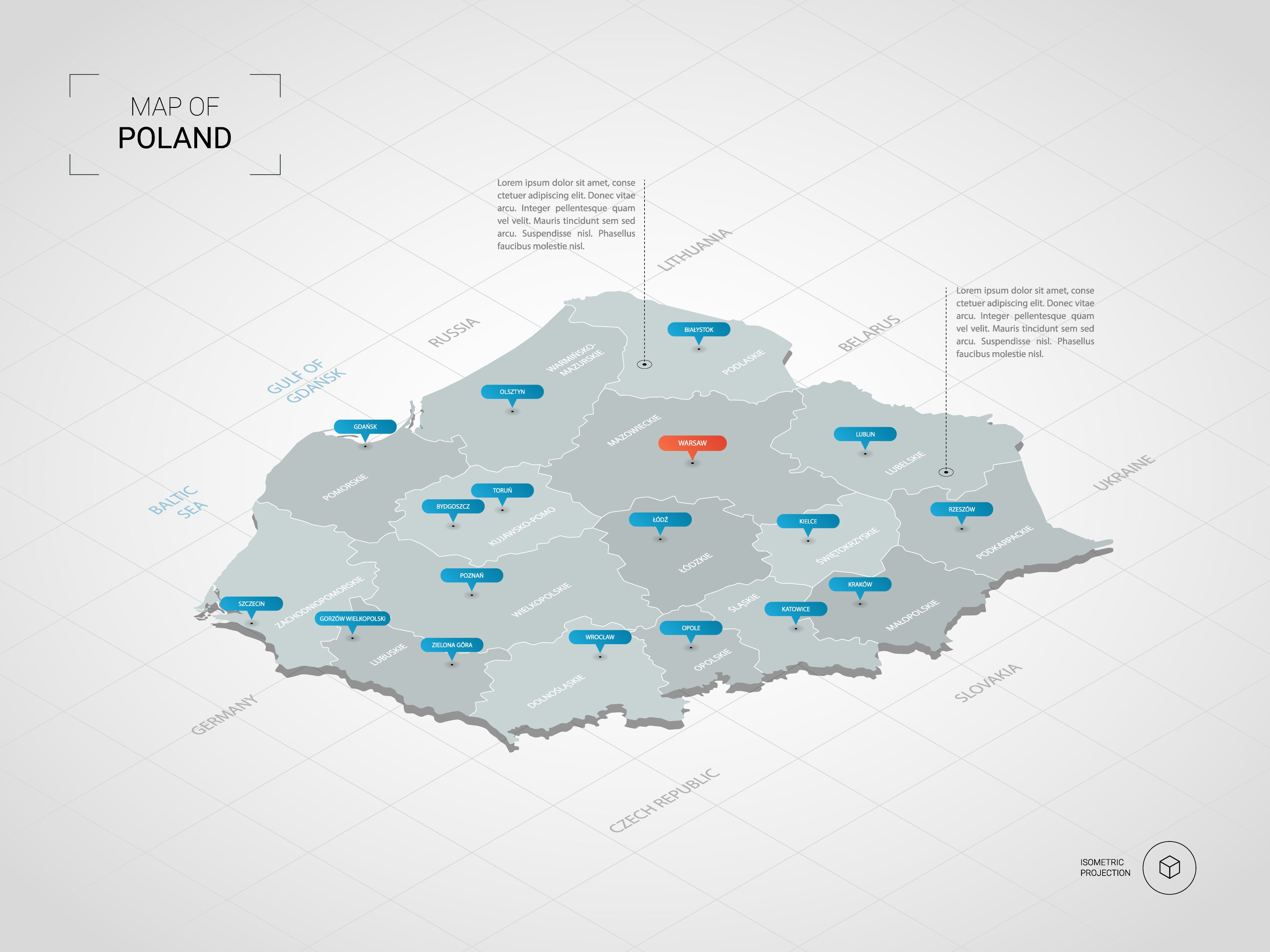 Capital Of Poland Map.Isometric 3d Poland Map Stylized Vector Map Illustration With