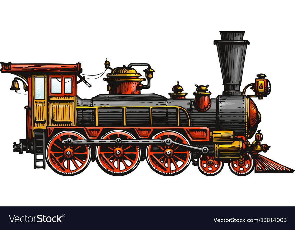 Vintage Steam Locomotive Drawn Ancient Train Transport Vector Illustration Isolated On White Background Download Train Drawing Train Illustration Train Art