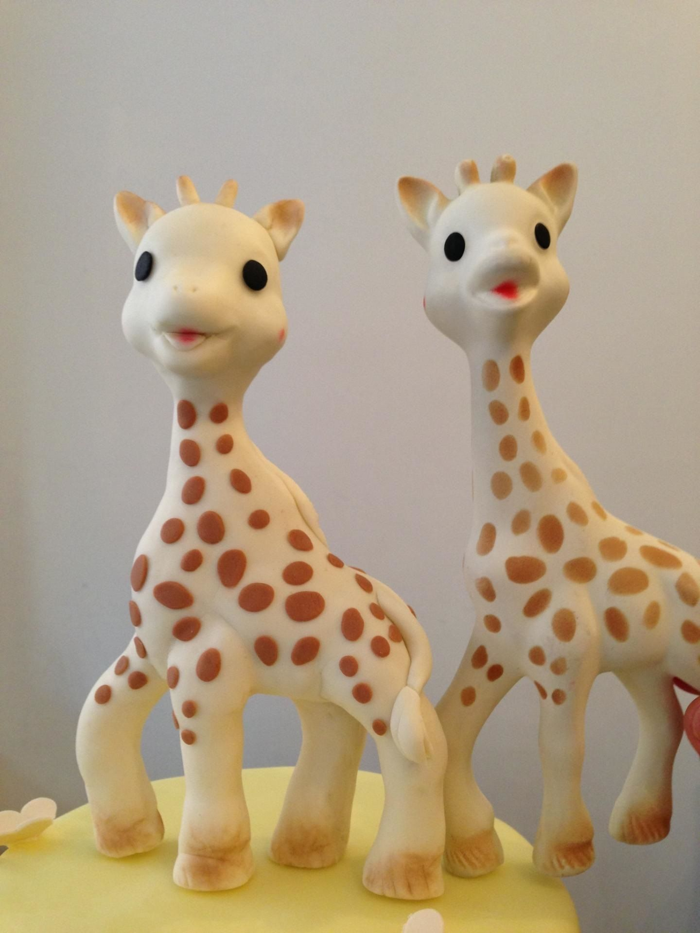Twin Giraffe Cake Toppers by Silk Cakes