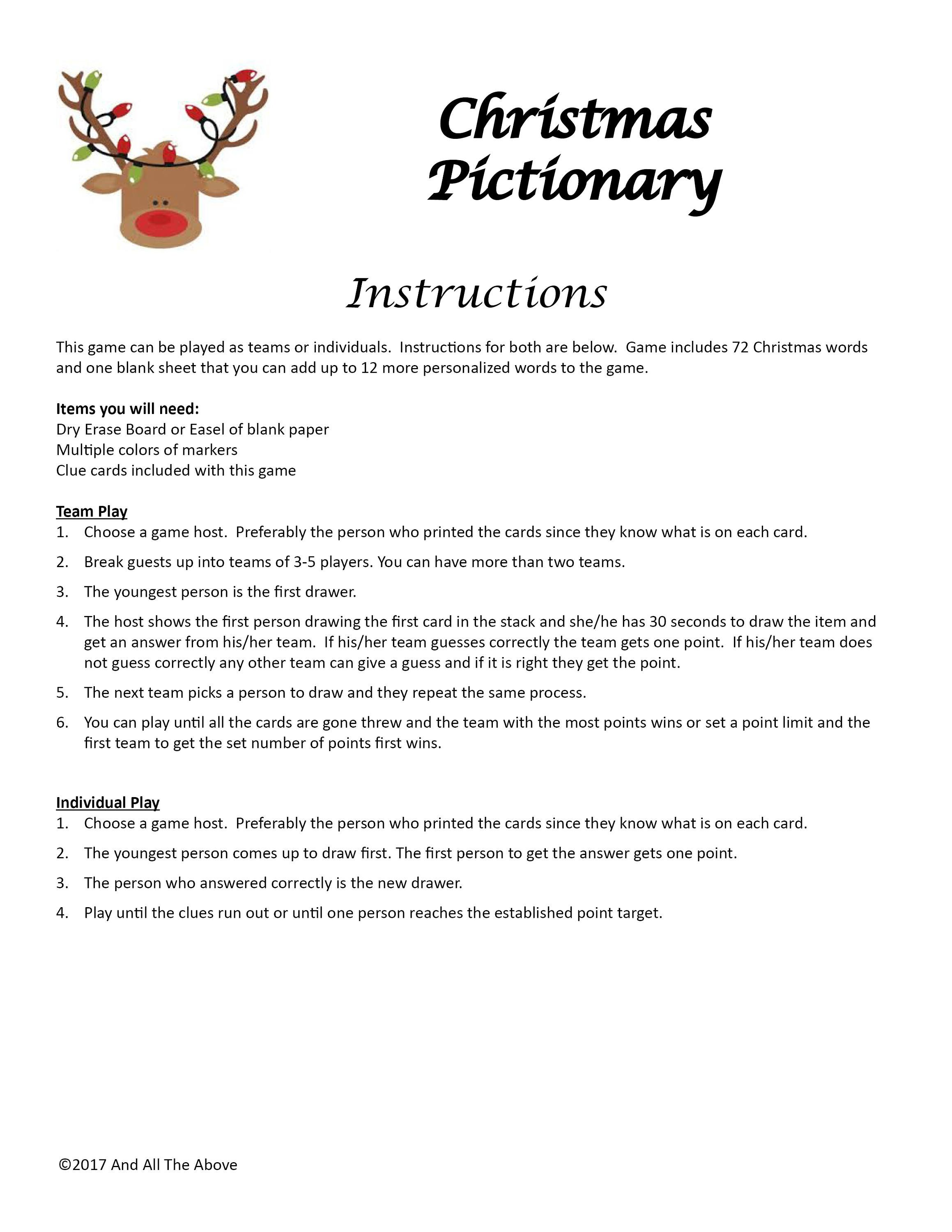 Christmas Pictionary DIGITAL DOWNLOAD, Drawing Game, Christmas Party ...