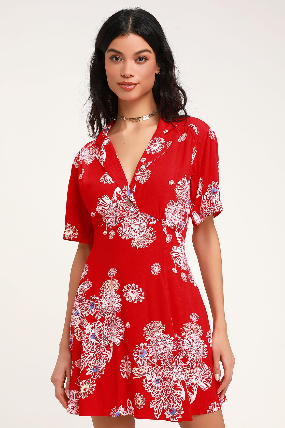 Blue Hawaii Red Floral Print Short Sleeve Mini Dress Short Sleeve Mini Dress Red Mini Dress Cute Red Dresses
