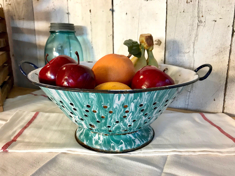 Blue graniteware swirl colander greenish blue enamelware