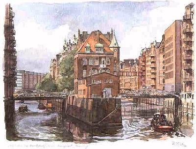 Reinhold Liebe Aquarell Hafen Brookfleet Speicherstadt Hamburg aquarelle