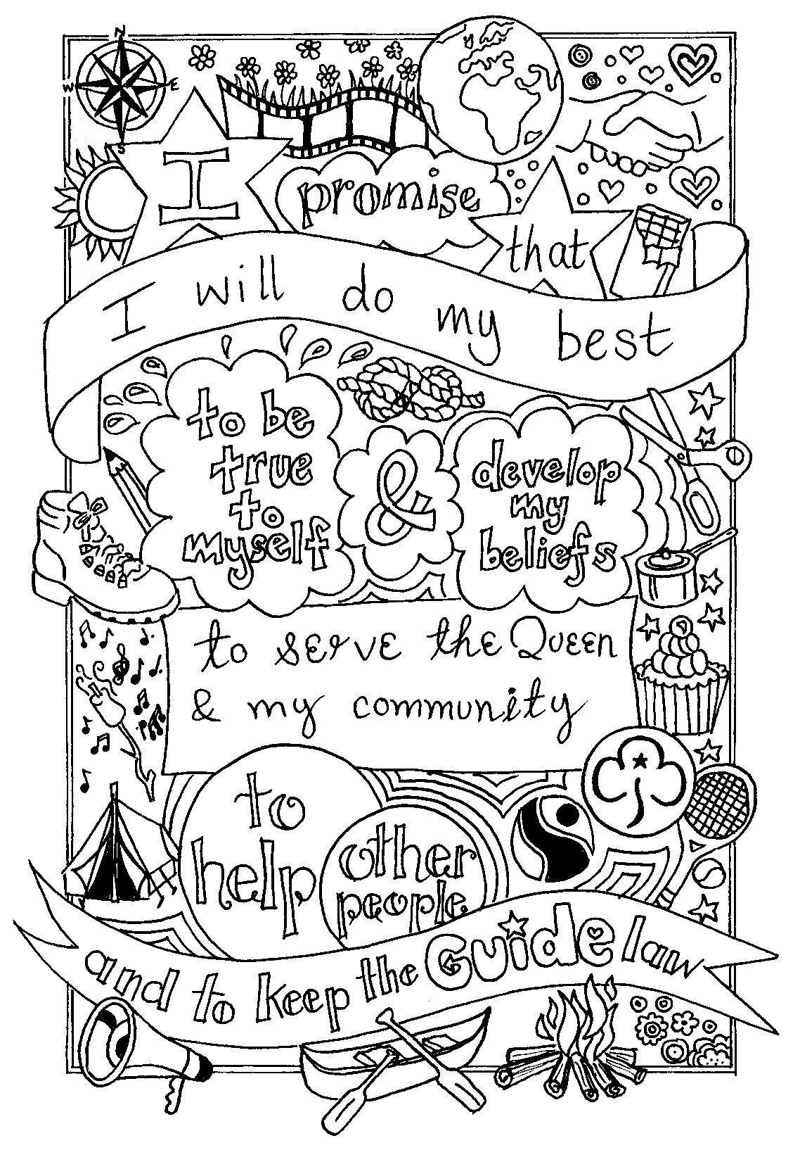 UK Guide Promise colouring sheet. Created by @emyb Emy