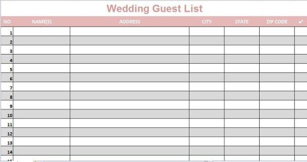 How To Make A Guest List On An Excel Template Wedding Guest List