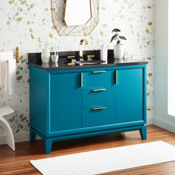 Retro Inspired Talyn Vanities In 2020 Teal Bathroom Decor Teal Bathroom Bathroom Decor