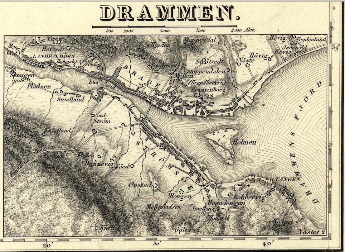 """o kart norge Kart over """"Grevskabernes Amt"""", 1832   utsnitt. Norges Geografiske  o kart norge"""