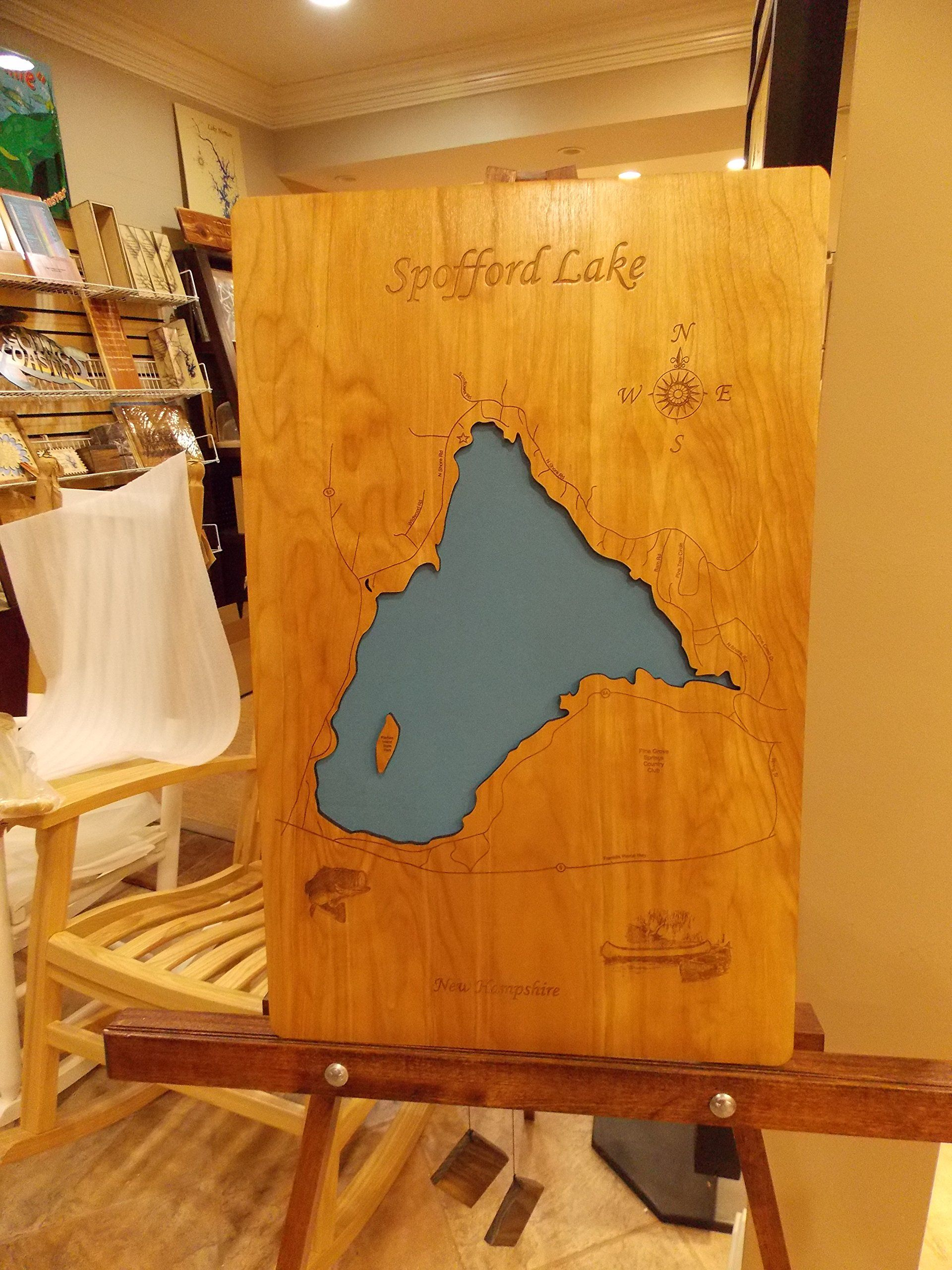 Spofford lake new hampshire standout wood map wall hanging this