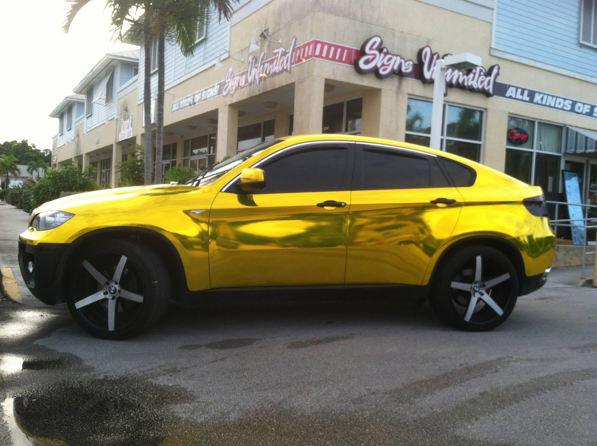 Bmw X6 Wrapped In Vvivid Gold Chrome By Signs Unlimited In Fl