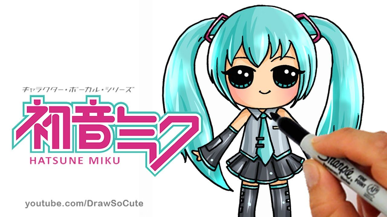 how to draw hatsune miku step by step chibi cute japanese anime