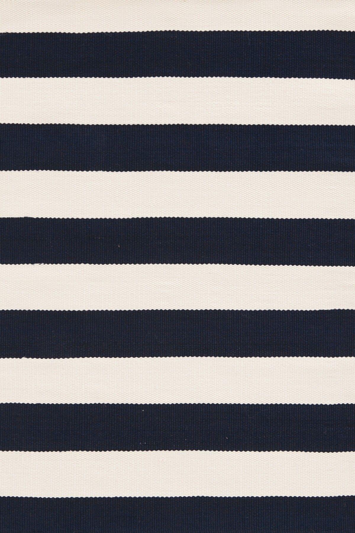 Navy White Striped Rug Dash and Albert Rugs Catamaran Indoor