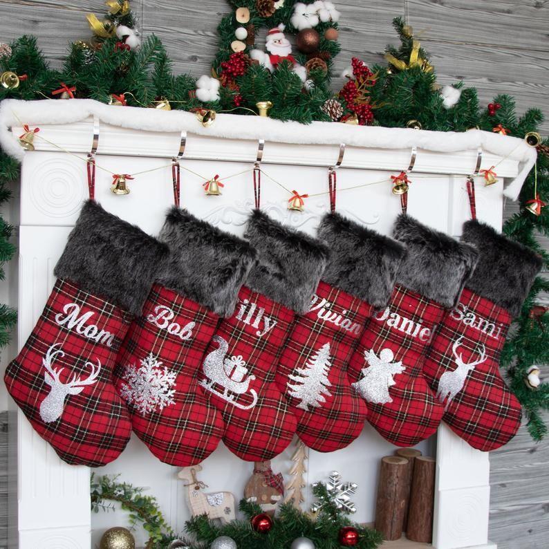 Country Christmas, Personalized Rustic Christmas Decor Nautical Burlap Christmas Stocking