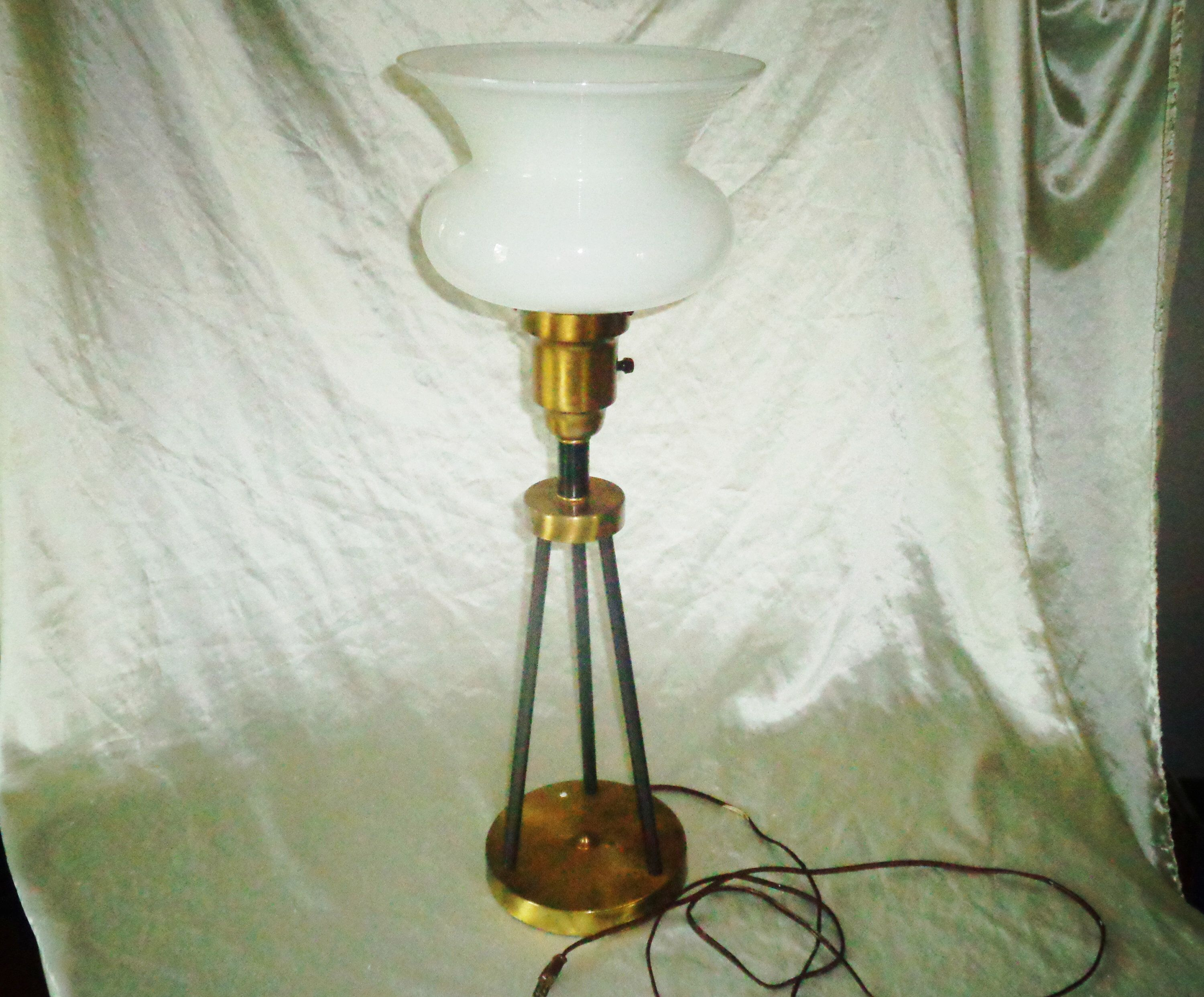 1930s Brass Tripod Pole Rod 3 Way Table Lamp W Large Ribbed Etsy In 2020 Lamp Glass Diffuser Lamp Bases