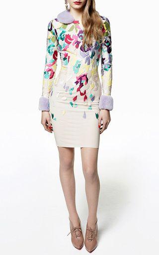 Techno Rose Embroidered Sheath Dress With Mink Fur Trim by BLUMARINE Now Available on Moda Operandi