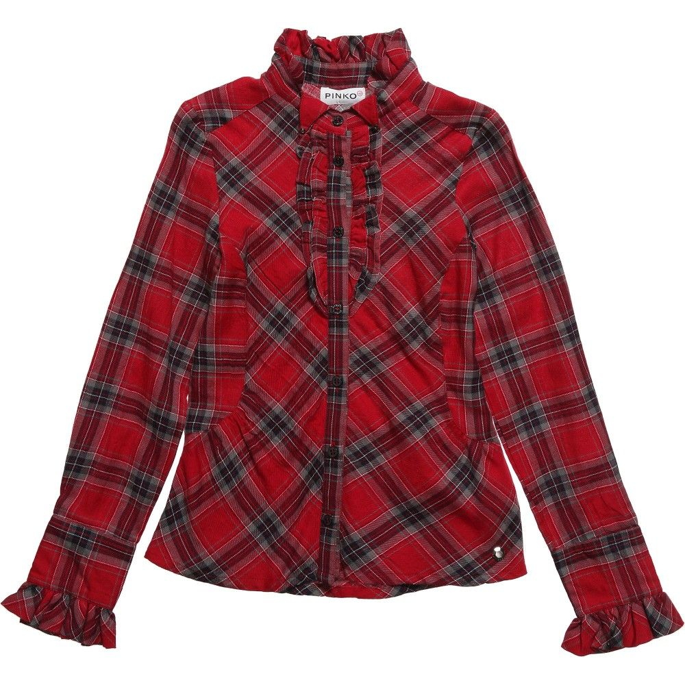 Red plaid flannel jacket  Pinko Up girls dark red tartan blouse with ruffles on the front