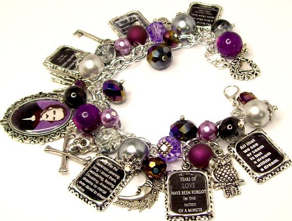 Charm Bracelet Edgar Allen Poe Quotes Poe by baublesbeadsncharms