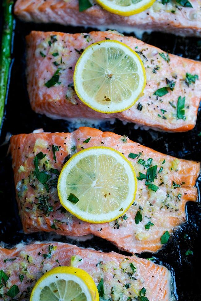 Photo of Baked salmon with asparagus